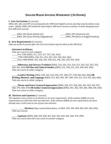 advisement worksheet Returning students with declared majors should seek advisement from faculty in their major department the time of a student's first meeting with an advisor,.