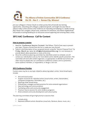 Call for Content - Alliance of Artists Communities