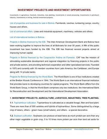 BUSINESS DEVELOPMENT PLANS FOR BOLIVIA. - bolivianland