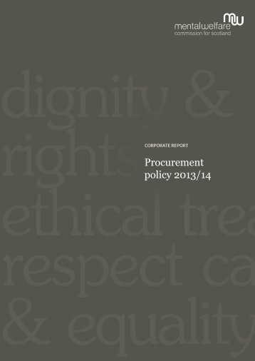 Procurement policy 2013 - Mental Welfare Commission for Scotland