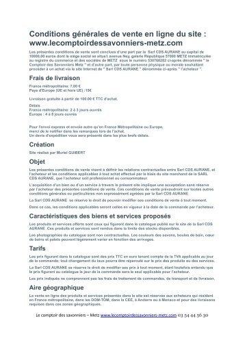les conditions generales de vente - Le comptoir des savonniers - Metz