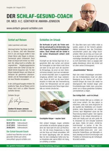 DER SCHLAF-GESUND-COACH | Ausgabe Juli, August