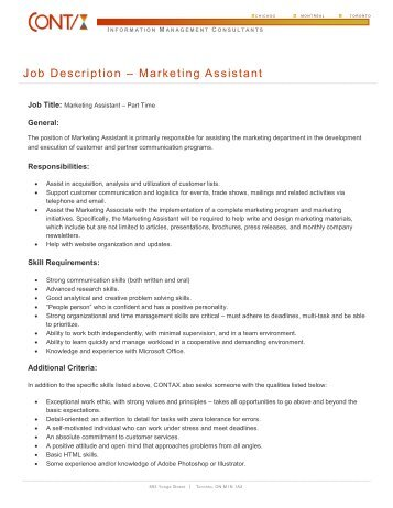 marketing assistant job description - Besik.eighty3.co