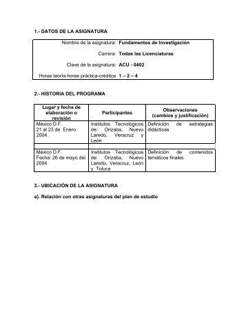 Fundamentos de Investigación - Instituto Tecnológico de Tehuacán