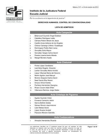 lista de admitidos - Instituto de la Judicatura Federal