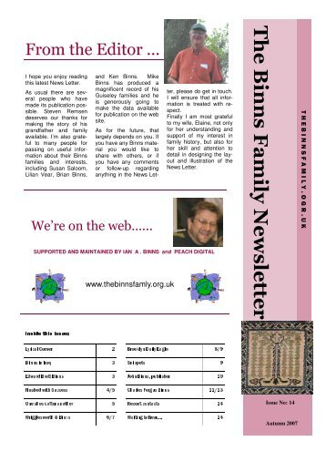 14 newsletter - The Binns Family