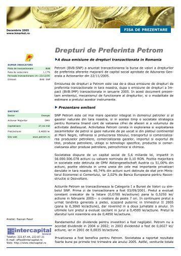 Fisa de prezentare drepturi SNP Petrom - Kmarket.ro