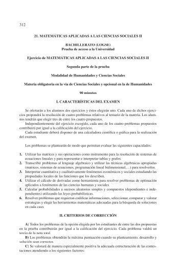 21. MATEMÁTICAS APLICADAS A LAS CIENCIAS SOCIALES II ...