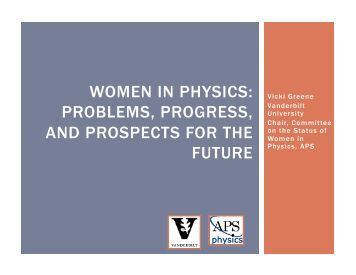 women in physics: problems, progress, and prospects for the future