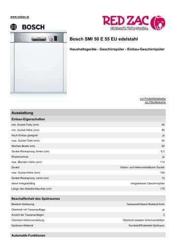 Produktdatenblatt Bosch SMI 50 E 55 EU edelstahl - Red Zac