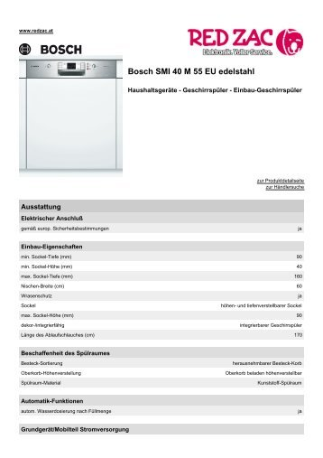 Produktdatenblatt Bosch SMI 40 M 55 EU edelstahl - Red Zac
