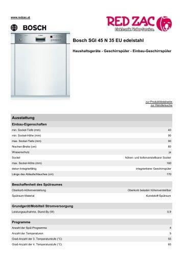 Produktdatenblatt Bosch SGI 45 N 35 EU edelstahl - Red Zac