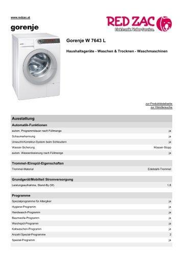 Produktdatenblatt Gorenje W 7643 L - Red Zac