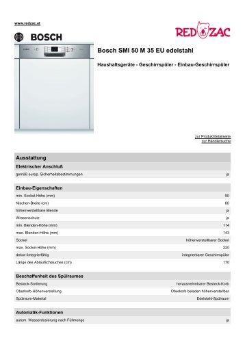 Produktdatenblatt Bosch SMI 50 M 35 EU edelstahl - Red Zac