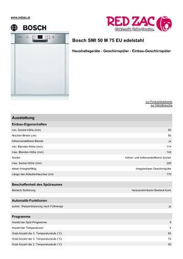Produktdatenblatt Bosch SMI 50 M 75 EU  edelstahl - Red Zac
