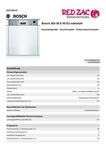 Produktdatenblatt Bosch SGI 56 E 95 EU edelstahl - Red Zac