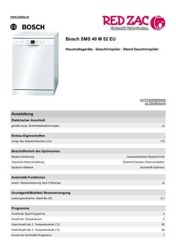 Produktdatenblatt Bosch SMS 40 M 52 EU - Red Zac