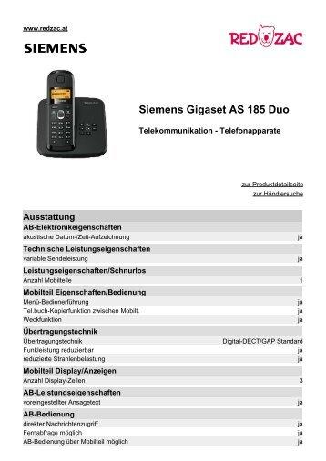 Produktdatenblatt Siemens Gigaset AS 185 Duo - Red Zac