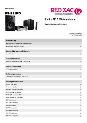 Produktdatenblatt Philips MBD 3000 aluminium - Red Zac