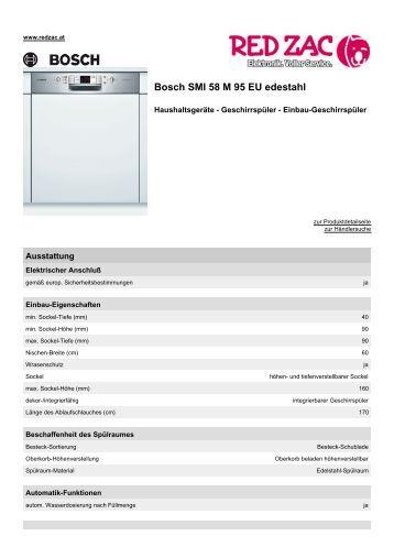Produktdatenblatt Bosch SMI 58 M 95 EU edestahl - Red Zac