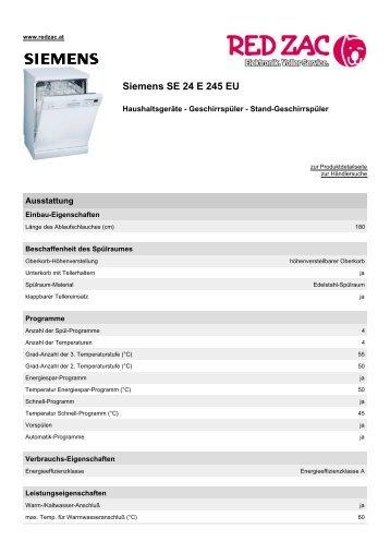 Produktdatenblatt Siemens SE 24 E 245 EU - Red Zac