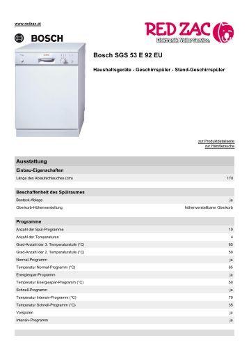 Produktdatenblatt Bosch SGS 53 E 92 EU - Red Zac