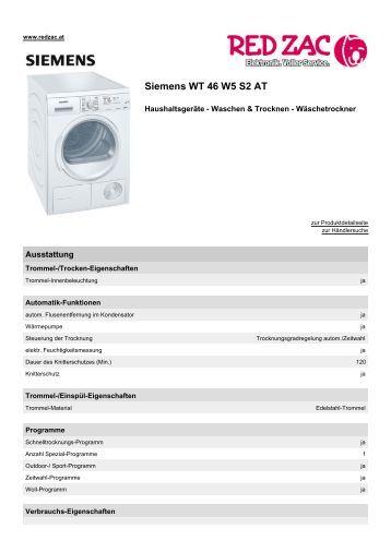 Produktdatenblatt Siemens WT 46 W5 S2 AT - Red Zac