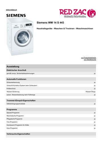 Produktdatenblatt Siemens WM 14 S 443  - Red Zac