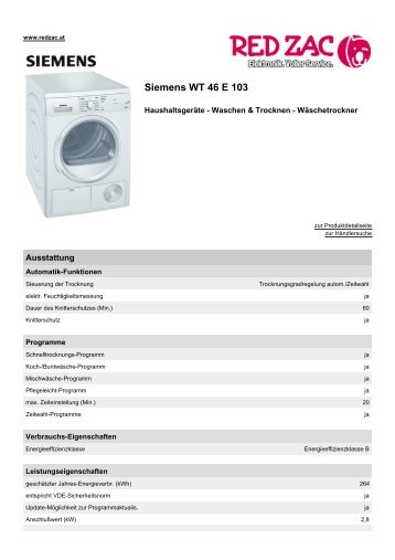 Produktdatenblatt Siemens WT 46 E 103 - Red Zac