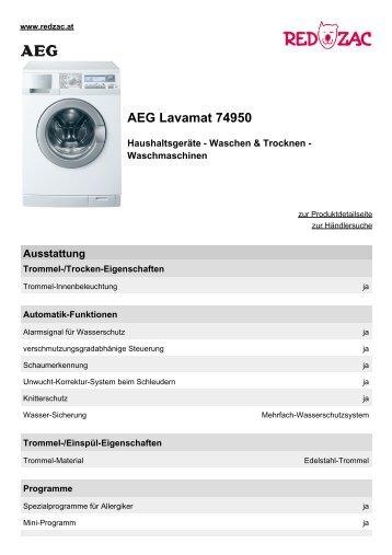 Produktdatenblatt AEG Lavamat 74950 - Red Zac