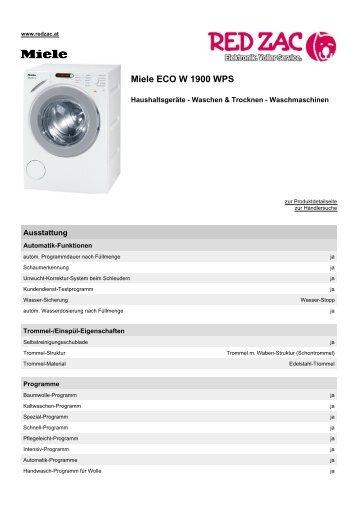 Produktdatenblatt Miele ECO W 1900 WPS - Red Zac