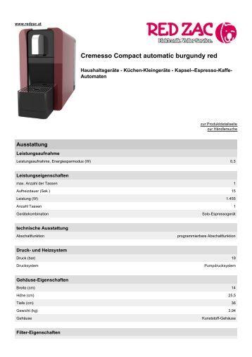 Produktdatenblatt Cremesso Compact automatic ... - Red Zac