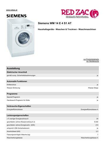 Produktdatenblatt Siemens WM 14 E 4 S1 AT - Red Zac