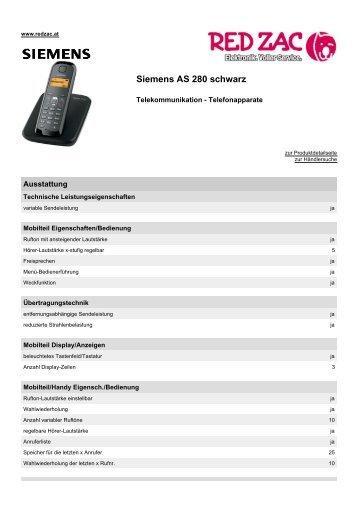 Produktdatenblatt Siemens AS 280 schwarz - Red Zac