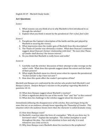 Essay questions on macbeth