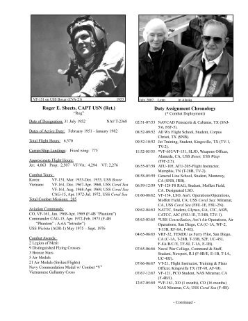 Roger E. Sheets, CAPT USN (Ret.) Duty Assignment Chronology