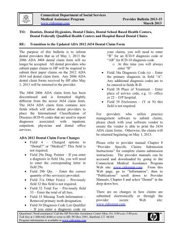 Transition to the Updated ADA 2012 J434 Dental Claim Form