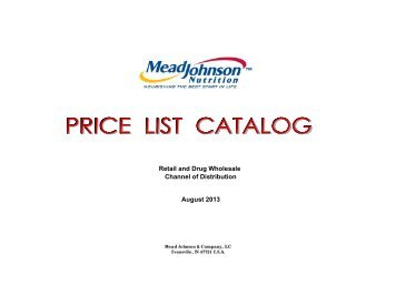 08-01-2013 Retail MJ Price List Catalog - Mead Johnson Nutrition