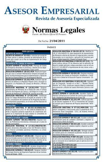 De Fecha: 21/04/2011 - Revista Asesor Empresarial
