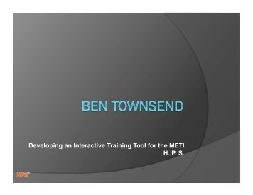 Developing an Interactive Training Tool for the METI H. P. S.