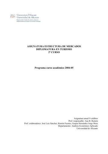 ASIGNATURA ESTRUCTURA DE MERCADOS DIPLOMATURA EN ...