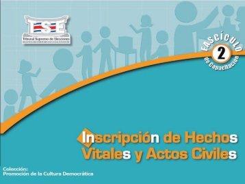 Inscripción de Hechos Vitales y Actos Civiles - Tribunal Supremo de ...