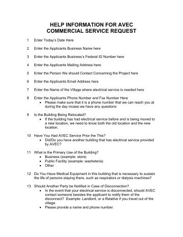 help information for avec commercial service request