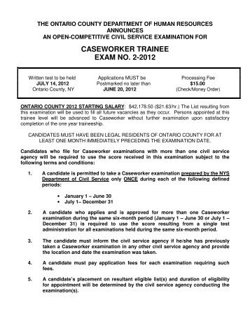 CASEWORKER TRAINEE EXAM NO. 2-2012 - Ontario County