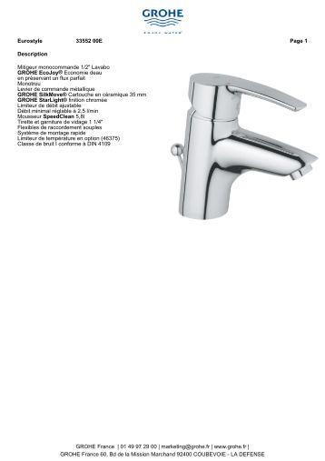 description mitigeur monocommande 12 lavabo grohe ecojoy - Schema Montage Robinet Grohe