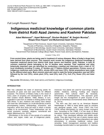 Indigenous medicinal knowledge of common plants from district Kotli ...
