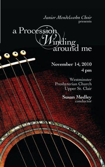 November 14, 2010 4 pm Susan Medley Junior Mendelssohn Choir