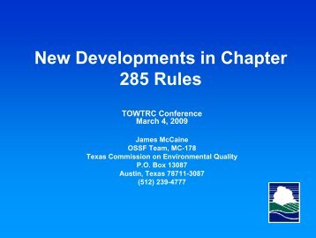 New Developments in Chapter 285 Rules - James McCaine
