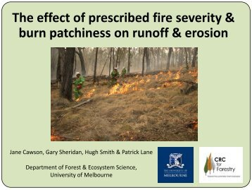 The effect of prescribed fire severity & burn patchiness on runoff ...
