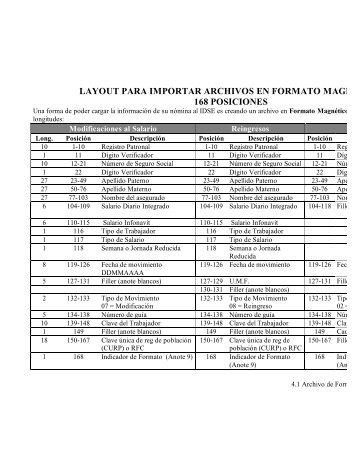 layout para importar archivos en formato magnetico 168 posiciones